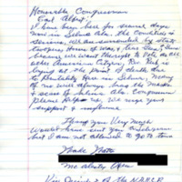 Correspondence, Constituent from McAlester, Oklahoma with Representative Carl Albert