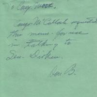 Staff memo to Representative Arch Moore<br />