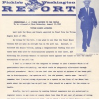 """""""Pickle's Washington Report,"""" the newsletter of Texas Congressman Jake Pickle.<br />"""